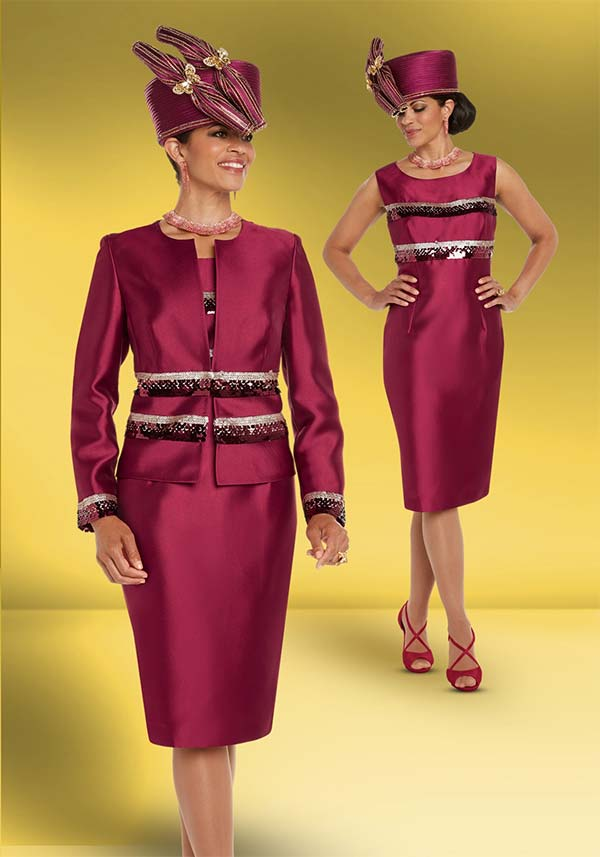 Donna Vinci 11722 Sequin Trimmed Womens Skirt Suit In Silk Look Fabric