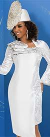Donna Vinci 11723 Asymmetric Hemline Bell Sleeve Dress With Brocade Trims