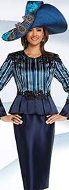 Donna Vinci 11724 Lace Trimmed Womens Skirt Suit With Flounce Jacket