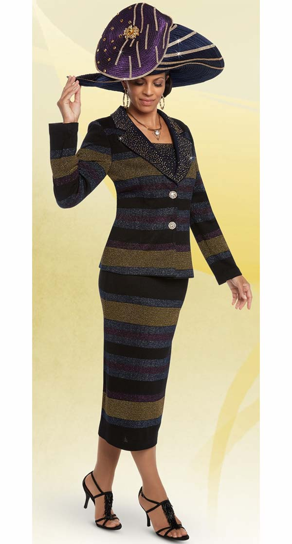 Donna Vinci 13210 Exclusive Knitted Lurex Yarn Skirt Suit With Gold Stones & Buttons