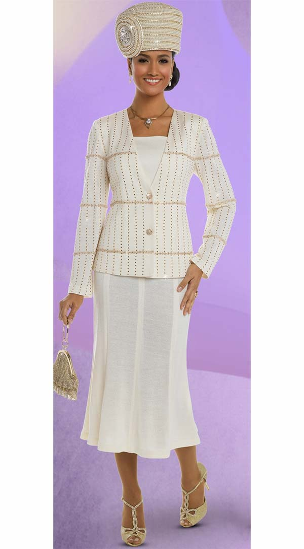 Donna Vinci 13212 Exclusive Knitted Yarn Skirt Suit With Gold Rhinestone Trims