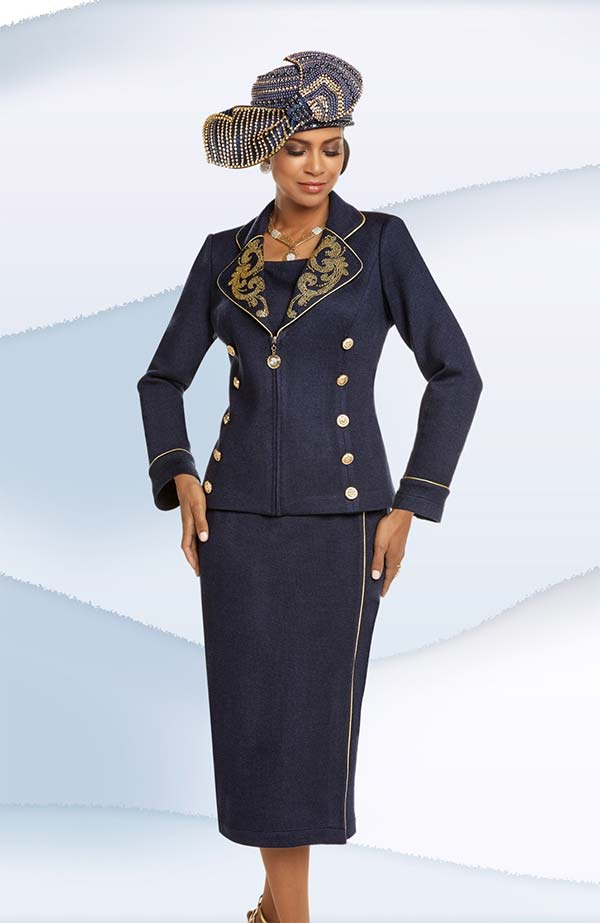 Donna Vinci 13229 Exclusive Knitted Yarn Clover Lapel Skirt Suit With Rhinestones