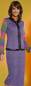 Donna Vinci 13235 Exclusive Knitted Lurex Yarn Skirt Suit With Sequin Trims