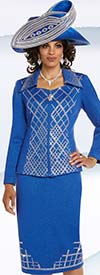 Donna Vinci 13238 Exclusive Knitted Lurex Yarn Skirt Suit With Elaborate Rhinestone Pattern