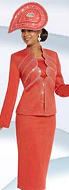 Donna Vinci 13239 Exclusive Knitted Lurex Yarn Skirt Suit With Rhinestones
