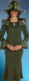Donna Vinci 13241 Exclusive Knitted Lurex Yarn Skirt Suit With Gold & Silver Rhinestones