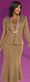 Donna Vinci 13242 Exclusive Knitted Lurex Yarn Skirt Suit With Pearls & Rhinestone Trims