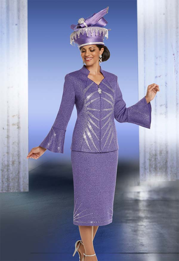 Donna Vinci 13243 Exclusive Knitted Lurex Yarn Skirt Suit With Elaborate Rhinestone Pattern