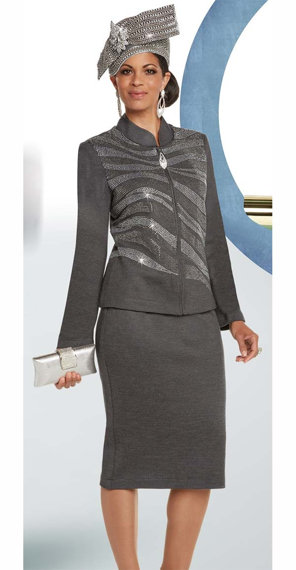 Donna Vinci 13244 Exclusive Knitted Lurex Yarn Skirt Suit With Rhinestone Pattern