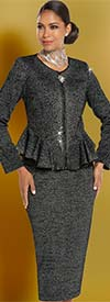 Donna Vinci 13245 Exclusive Knitted Lurex Yarn Skirt Suit With Peplum Jacket
