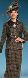 Donna Vinci 5599 Womens Skirt Suit With Faux Leather Accents