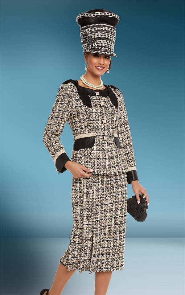 Donna Vinci 5600 Womens Pleated Skirt Suit With Rhinestone Trims