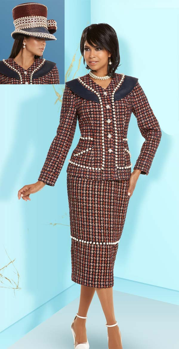 Donna Vinci 5601 Womens Vee Neck Church Suit With Pearl Bead Accents