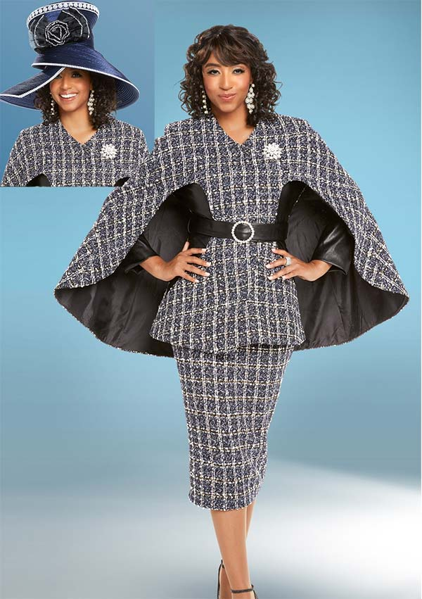 Donna Vinci 5602 Womens Skirt Suit With Belted Cape Jacket