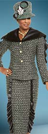 Donna Vinci 5603 Womens Skirt Suit With Faux Leather Collar & Ruffle Accents