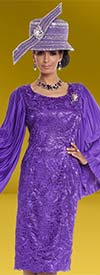 Donna Vinci 5607 Lace Design Dress With Pleated Angel Wing Sleeves