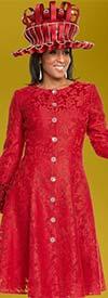 Donna Vinci 5608 Satin Ruffle Sleeve Dress