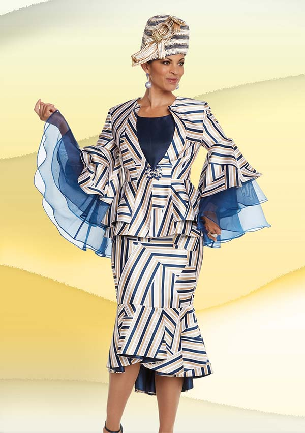 Donna Vinci 5610 Womens Multidirectional Striped Print Skirt Suit With Winged Sleeves