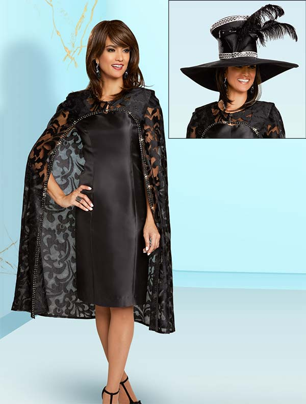 Donna Vinci 5611 Novelty Lace Jacket & Dress Set With Rhinestone Trims