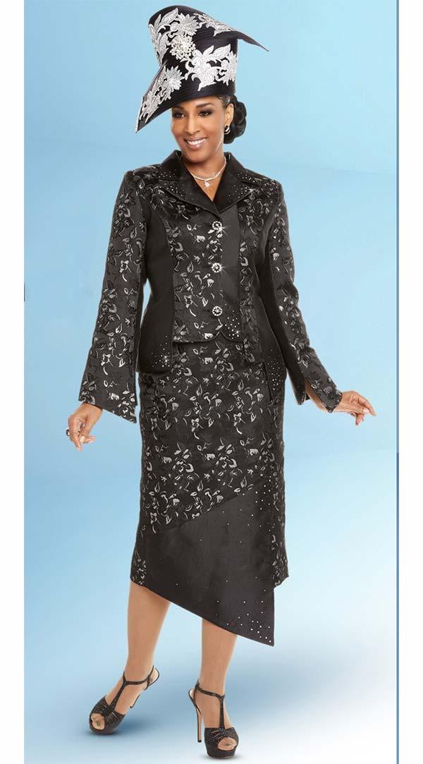 Donna Vinci 5613 Womens Metallic Patttern Suit With Asymmetric Style Skirt