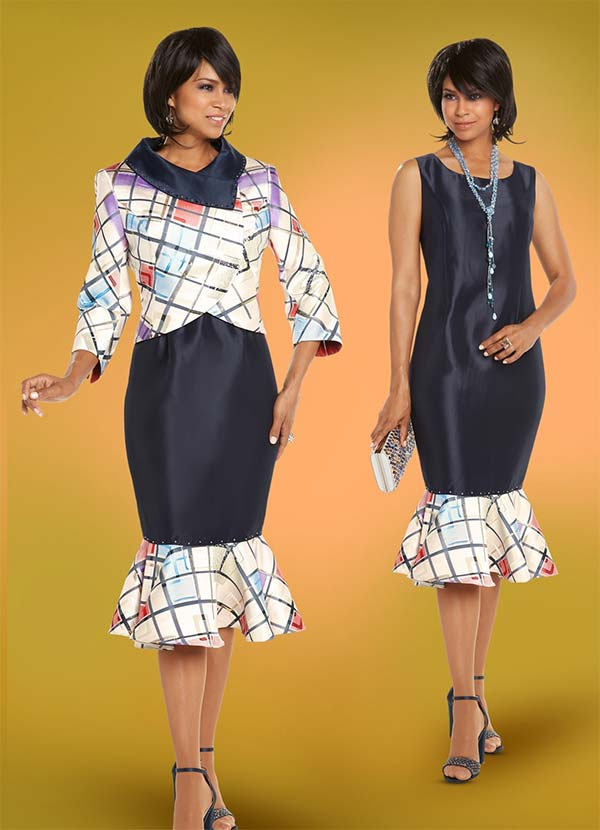 Donna Vinci 5614 Geometric Print Trumpet Flounce Dress With Portrait Collar
