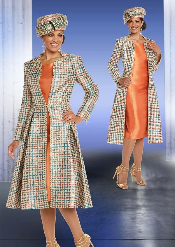 Donna Vinci 5615 Multicolor Print Design Coat With Solid Dress