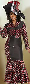 Donna Vinci 5616 Exclusive Novelty Fabric Polka Dot Pattern Skirt Suit