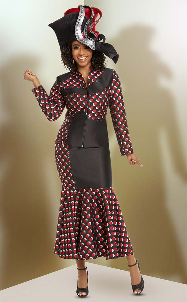 Donna Vinci 5616 Exclusive Novelty Fabric Polka Dot Pattern Skirt Suit