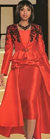 Donna Vinci 11738-Red Silk Look Fabric Skirt And Layered Peplum Jacket With Guipure Lace Design