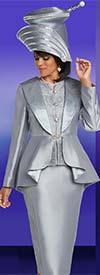 Donna Vinci 11744 Silk Look Skirt Suit With Over Shoulder Cascading Lapel Peplum Jacket
