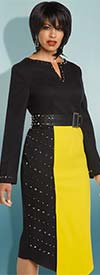 Clearance Donna Vinci 11774 Stud Embellished Asymmetric Dress In Crepe Fabric With Leatherette Belt