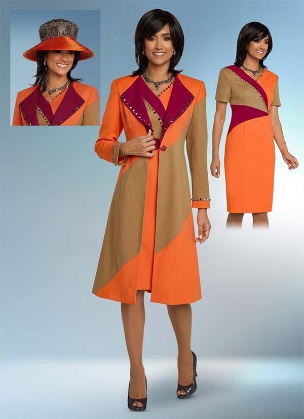 Donna Vinci 11776 Stud Embellished Dress And Long Jacket Suit In Tri Color Crepe Fabric