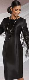 Donna Vinci 11778 Silk Look Dress With Delicate Sequin Fringe Trims