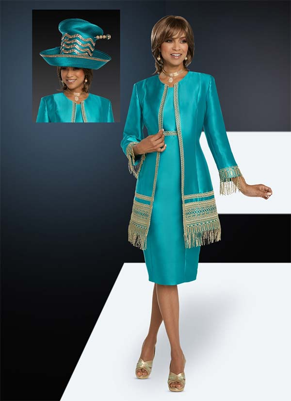Donna Vinci 11781 Two Piece Dress And Jacket Set With Guipure Lace Trim