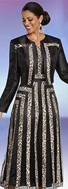 Donna Vinci 11782 Animal Print Striped Jacket And Sleeveless Dress Set