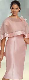 Donna Vinci 11783 Womens Silk Look Dress With Detachable Rhinestone Embellished Cape