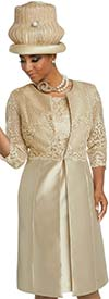 Donna Vinci 11784 Silk Look Dress With Long Jacket In Guipure Lace Design