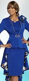 Donna Vinci 11785 Long Peplum Embellished Jacket And Dress Set With Equestrian Print