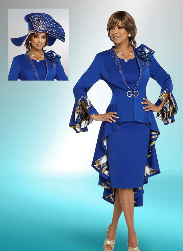 Donna Vinci 11785 Long Peplum Embellished Jacket And Dress Set With Equestrian Print