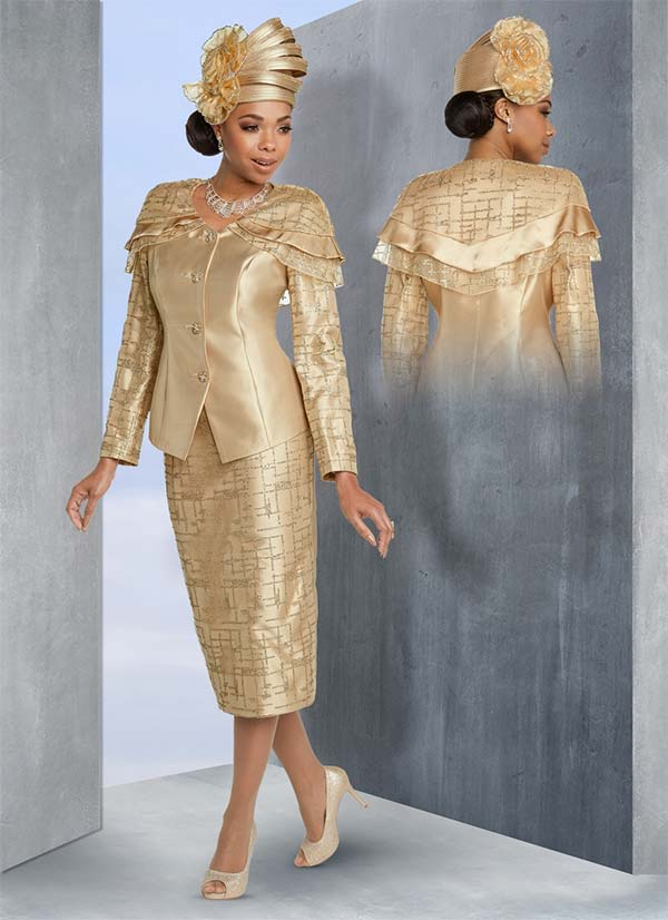 Donna Vinci 11786 Mesh Layered Capelet Jacket And Skirt Suit With Gold Trims