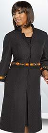 Donna Vinci 11787 Colorful Beaded Long Jacket & Dress Set With Subtle Chevron Pattern Design