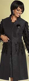 Donna Vinci 11788 Dress & Long Star Neckline Jacket With Feather Details