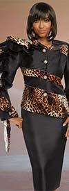 Donna Vinci 11790 Animal Print Faux Suede Design One Arm Ruffled Jacket And Skirt Suit