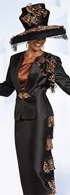 Donna Vinci 11791 Lace Trimmed Silk Look Fabric Jacket And Skirt Set With Cheetah Print