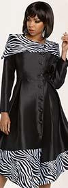Donna Vinci 11792 Silk Look Dress With Zebra Printed Trim & Over Shoulder Collar