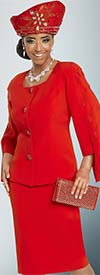 Donna Vinci 11795 Red Rhinestone Embellished Cape Sleeve Jacket & Skirt Suit