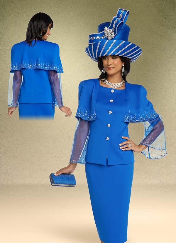 Donna Vinci 11796 Rhinestone Embellished Organza Sleeve Capelet Jacket & Skirt Suit