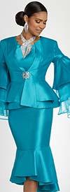 Donna Vinci 11797 Layered Organza Sleeve Peplum Jacket And Flounce Hem Church Suit
