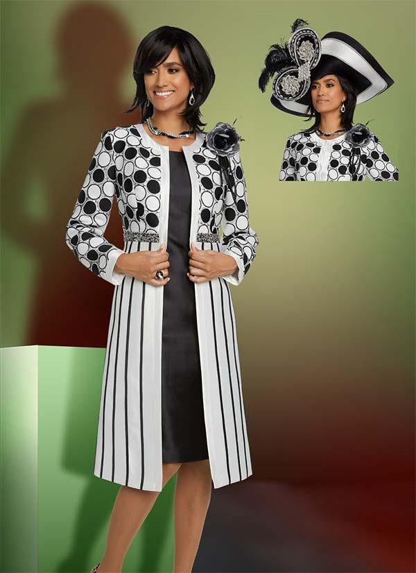 Donna Vinci 11798 Ladies Church Dress With Long Polka Dot & Stripe Design Jacket