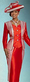 Donna Vinci 11800 Silk Look Fabric Skirt Suit With Satin Strapping And Rhinestone Trims